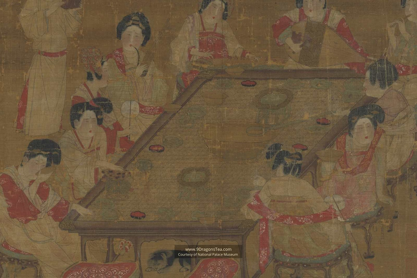 chinese tea history historical painting imperial court ladies having tea party tang dynasty