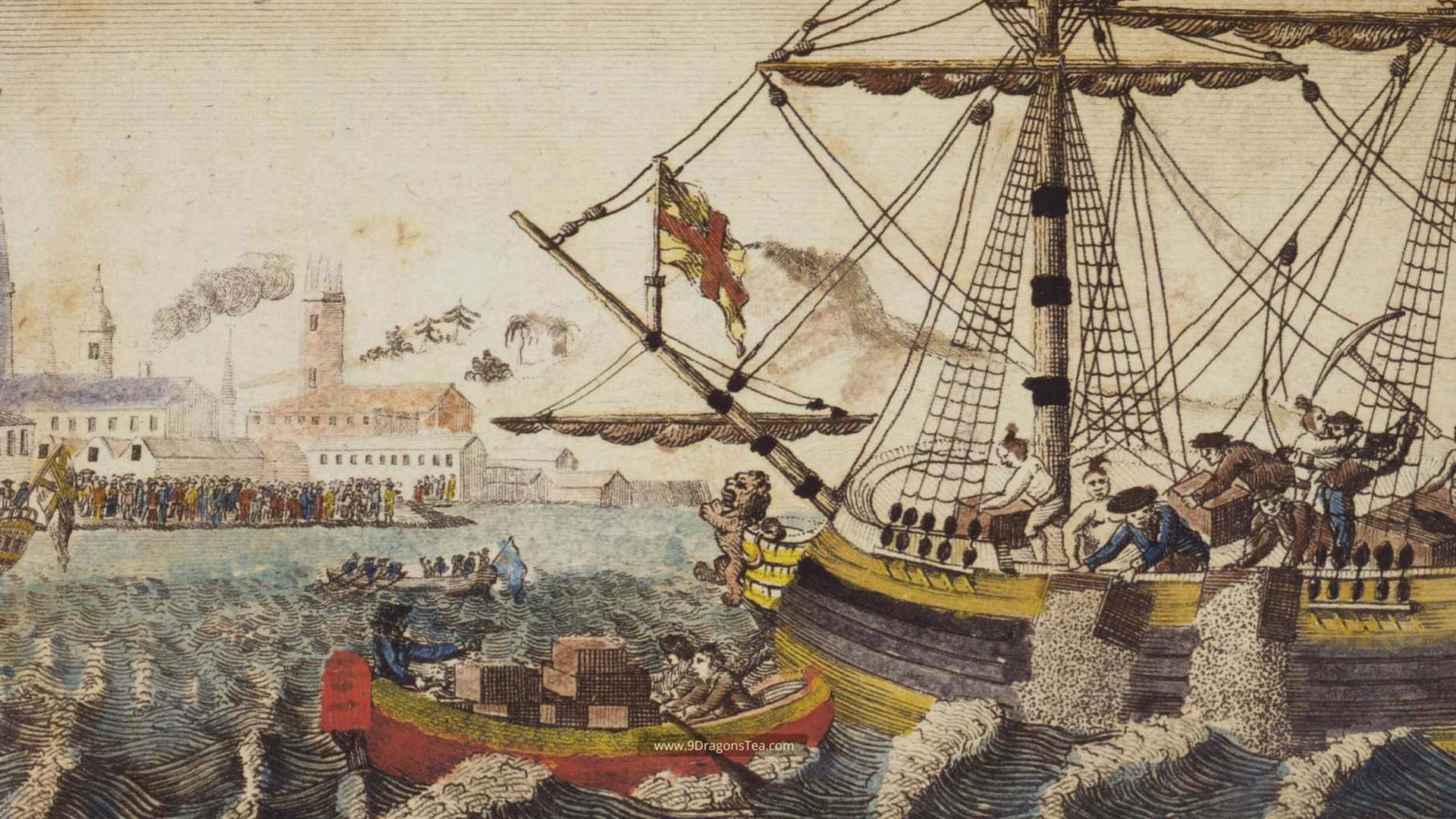 featured image historical painting How Tea Came To America boston tea party throwing tea into harbor