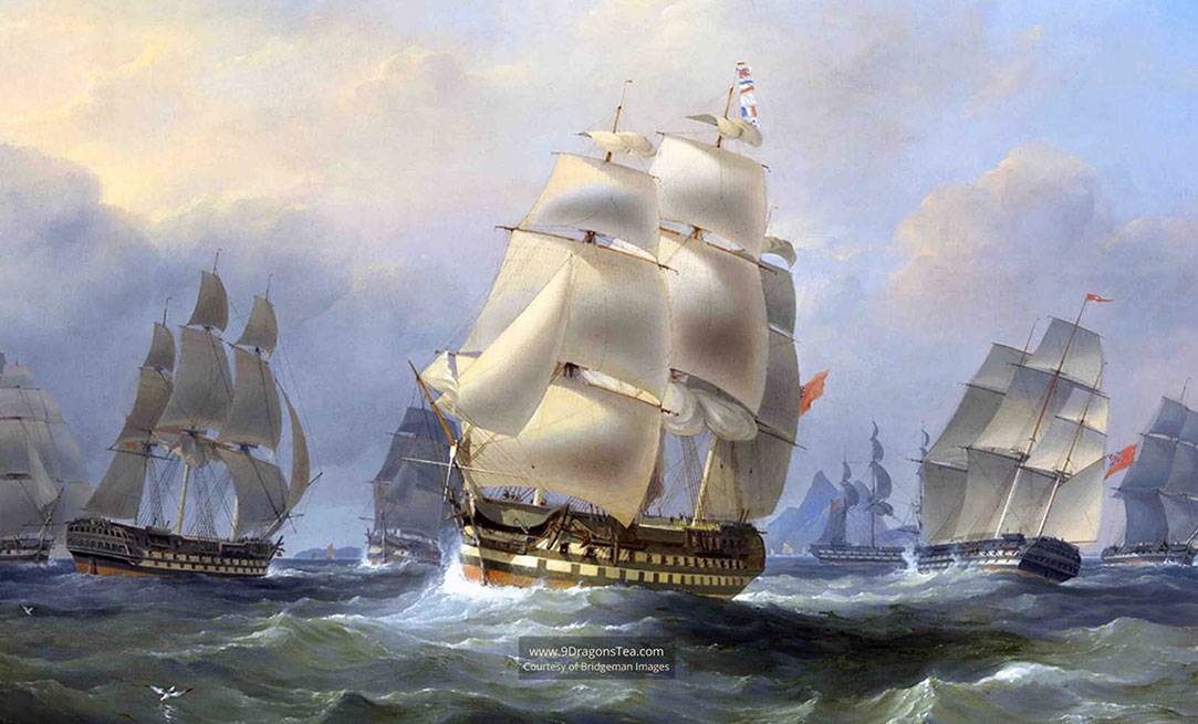 historical-painting-How-Tea-Came-to-England-british-ships-in-china-sea