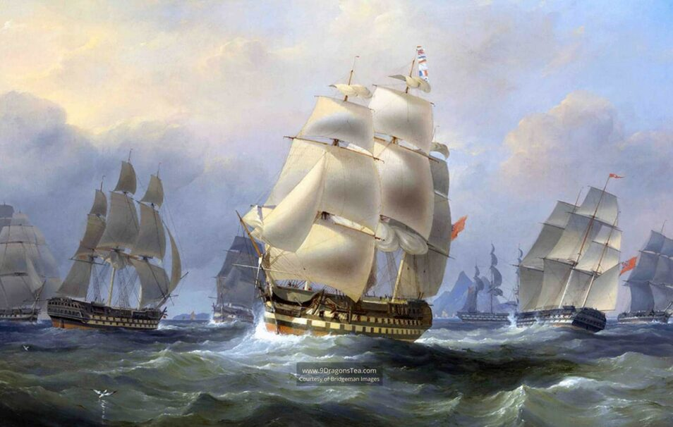 historical painting How Tea Came to England british ships in china sea