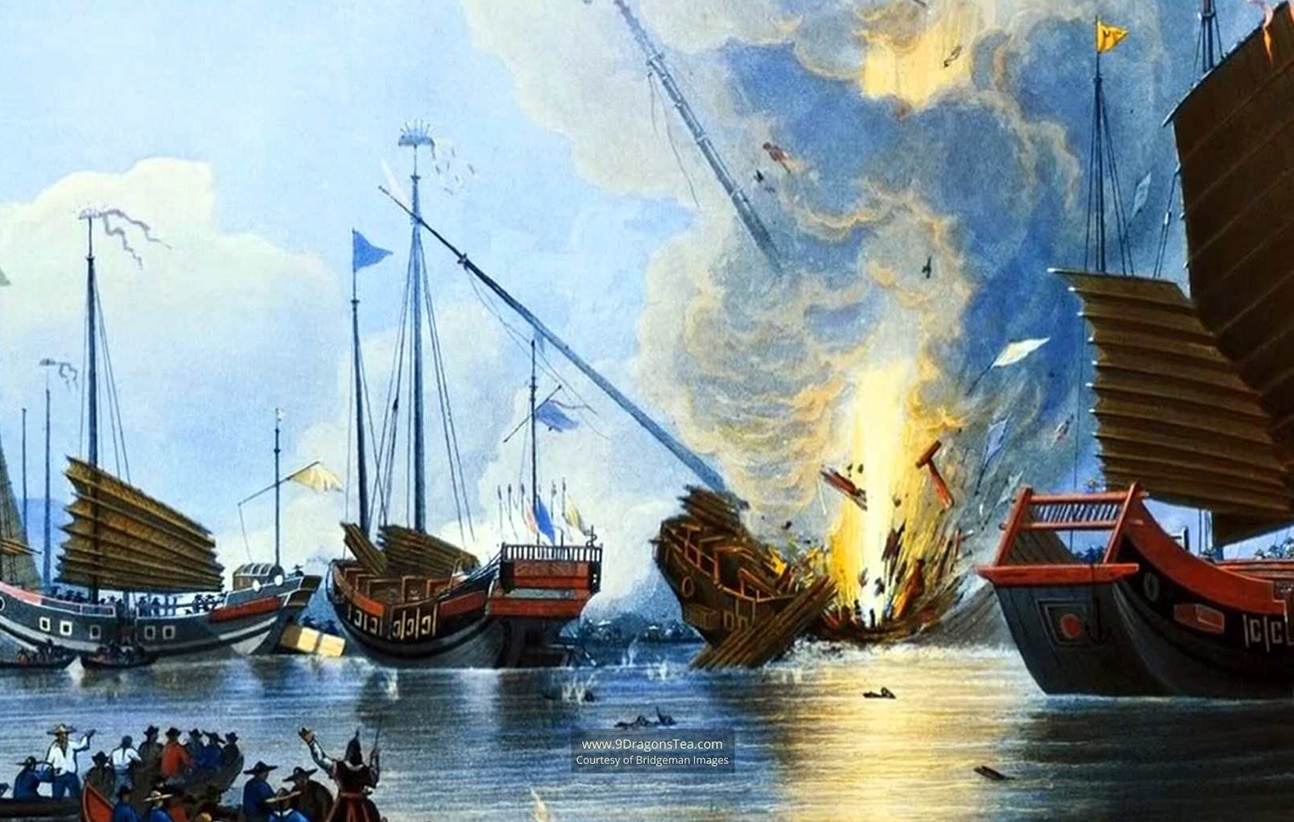 historical painting How Tea Came to England chinese junk boats on fire opium war