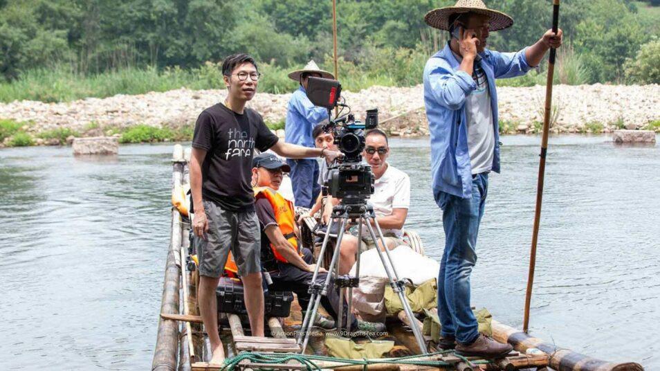 behind the scenes wuyishan filming river rafting crew on raft