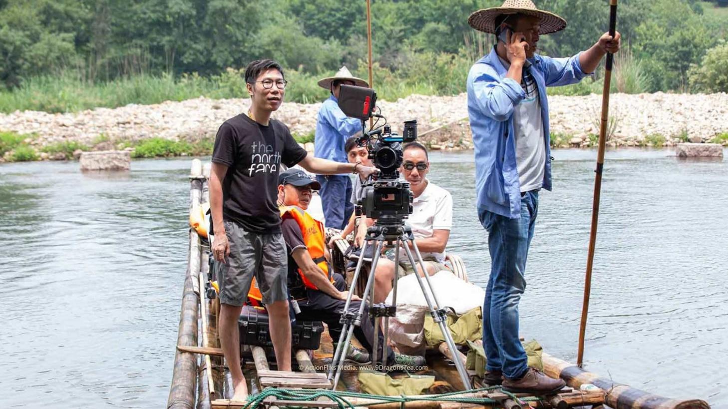 behind the scenes wuyishan filming river rafting crew on raft_