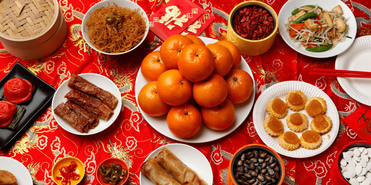 9 dragons tea - cny - Chinese lucky foods-tangerines, spring rolls, veggie dish