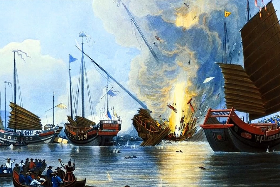 ActionFliks 9 Dragons Tea China Tea Trade British Opium War Bridgeman The Steamer Nemesis Destroying Chinese War Junks in the Canton River