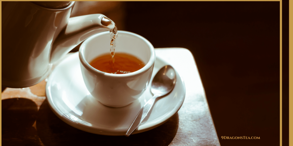 black tea poured into teacup
