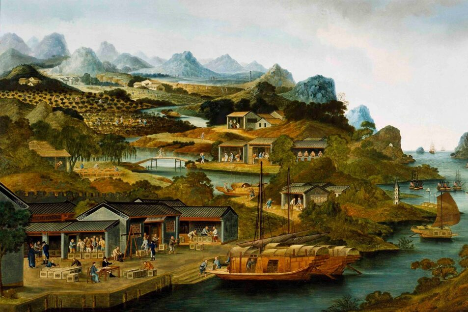 ActionFliks 9 Dragons Tea Chinese Tea Culture Historical Painting Peabody Museum China Tea Trade c1790-1800 by unknown Chinese artist web