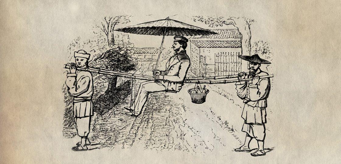 Robert Fortune tea spy traveling in mountain sedan chairs china