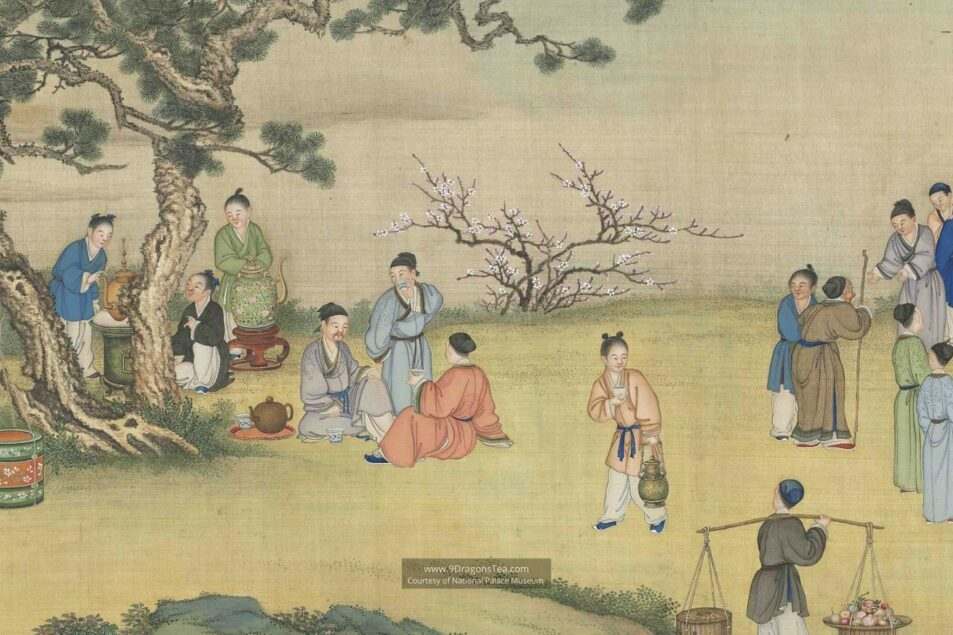 chinese tea history historical painting people tea tasting in spring market qing dynasty