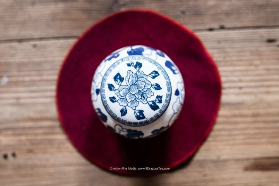 chinese tea history wuyishan culture traditional chinese tea caddy blue and white top view