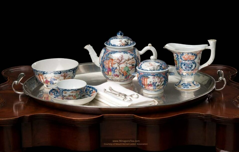 historical image How Tea Came To America george washington tea set teapot tea cups