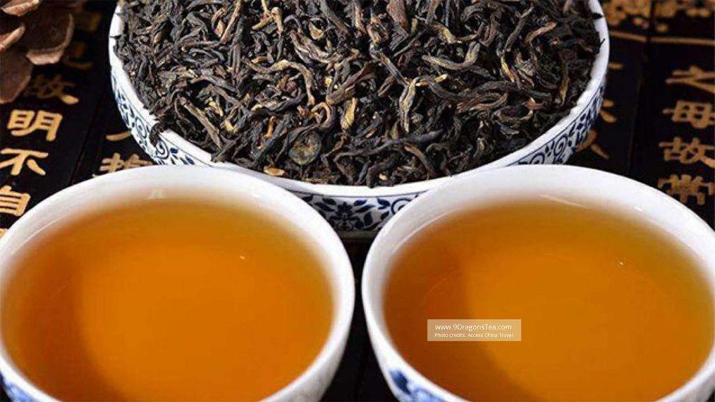 pu erh tea in cups with loose leaf