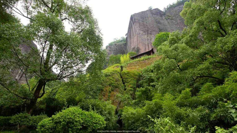 wuyishan landscape peak view big rock mountain with gazebo sky view